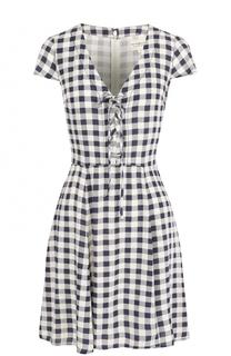 Приталенное мини-платье в клетку с V-образным вырезом Denim&Supply by Ralph Lauren