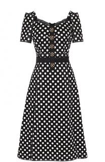 Приталенное платье-миди с принтом горох и декоративной отделкой Dolce & Gabbana