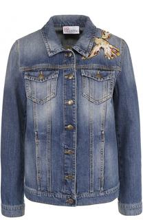 Джинсовая куртка прямого кроя с контрастной отделкой REDVALENTINO
