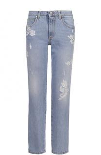 Укороченные джинсы прямого кроя с кружевной отделкой Ermanno Scervino