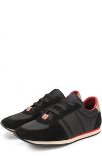 Комбинированные кроссовки на шнуровке Burberry
