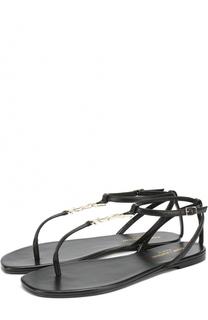 Кожаные сандалии с логотипом бренда Saint Laurent