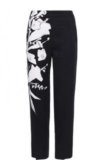 Укороченные брюки со стрелками и цветочным принтом Escada