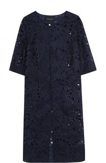 Шелковое кружевное пальто с укороченным рукавом Escada