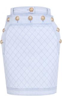 Джинсовая мини-юбка с прострочкой и контрастными пуговицами Balmain