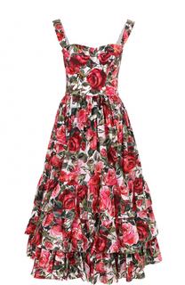 Приталенный сарафан с оборками и контрастным цветочным принтом Dolce & Gabbana
