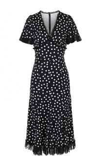 Приталенное платье в горох с кружевной отделкой Dolce & Gabbana