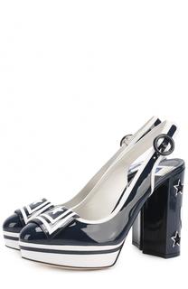 Лаковые туфли Vally с аппликациями Dolce & Gabbana