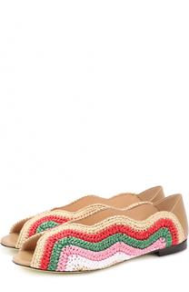 Плетеные балетки с фигурными вырезами Fendi