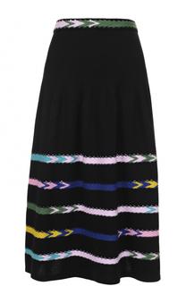 Кашемировая юбка-миди с контрастной отделкой Barrie