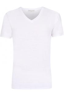 Льняная футболка с V-образным вырезом Daniele Fiesoli
