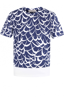 Хлопковая футболка с принтом Flutter Marni