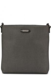 Сумка-планшет с внешним карманом на молнии и отделкой из натуральной кожи Ermenegildo Zegna
