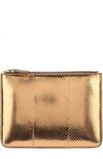 Клатч из металлизированной кожи змеи Ralph Lauren