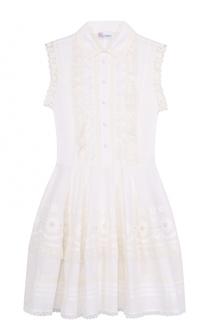 Приталенное мини-платье с кружевной отделкой REDVALENTINO