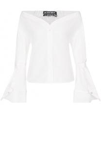 Блуза прямого кроя с открытыми плечами и расклешенными рукавами Jacquemus