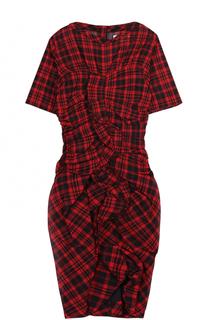 Приталенное мини-платье в клетку с оборками и драпировкой Isabel Marant Etoile
