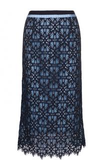 Кружевная юбка-миди с контрастным поясом Tara Jarmon