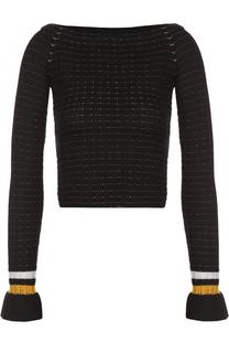 Облегающий пуловер с открытыми плечами и контрастной отделкой 3.1 Phillip Lim