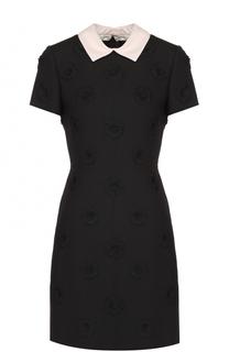 Мини-платье с контрастным воротником и фактурной цветочной отделкой Valentino
