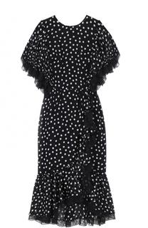 Платье-миди асимметричного кроя в горох с кружевной отделкой Dolce & Gabbana