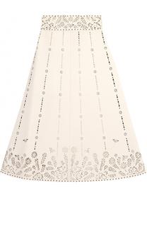 Кожаная юбка с завышенной талией и перфорацией Valentino