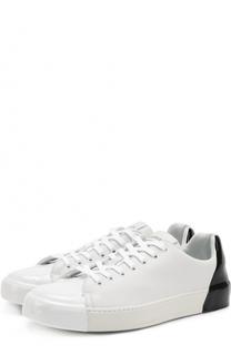 Кожаные кеды на шнуровке с контрастной отделкой задника Premiata