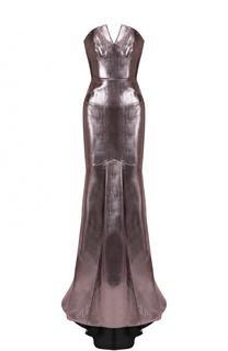 Приталенное платье-бюстье с металлизированной отделкой Roland Mouret