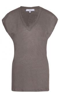 Льняная удлиненная футболка с V-образным вырезом Iro