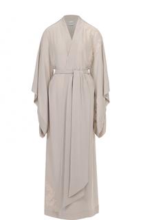 Шелковый халат с асимметричными рукавами и поясом Carine Gilson