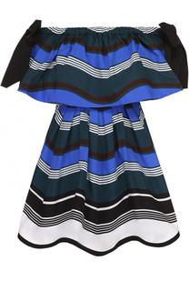 Приталенное мини-платье с открытыми плечами и контрастными бантами Fendi