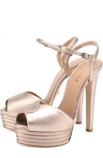Босоножки из металлизированной кожи на высоком каблуке и платформе Le Silla