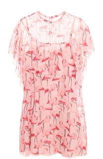 Шелковое мини-платье с принтом и оборками REDVALENTINO