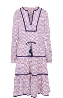 Приталенное платье-миди с круглым вырезом Tory Burch