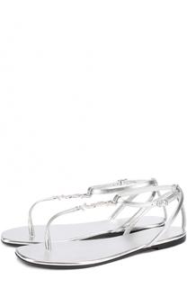 Сандалии из металлизированной кожи с логотипом бренда Saint Laurent