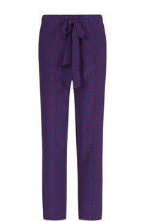 Укороченные шелковые брюки с карманами и поясом Tory Burch