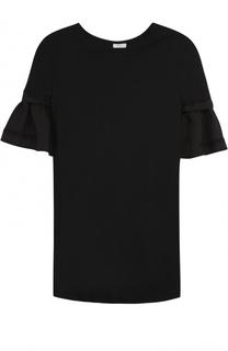 Хлопковая футболка прямого кроя с оборками на рукавах Clu