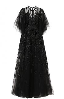 Многослойное платье с подолом и декоративной отделкой пайетками Elie Saab