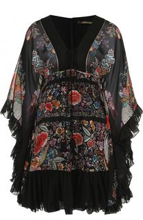 Шелковое мини-платье с контрастным цветочным принтом Roberto Cavalli