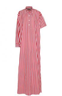 Платье-макси в контрастную полоску с асимметричными рукавами Balenciaga
