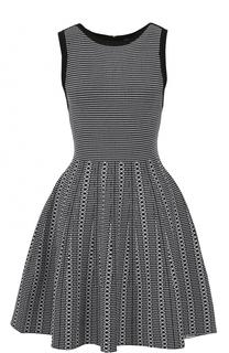 Приталенное мини-платье с пышной юбкой и контрастной отделкой Alice + Olivia