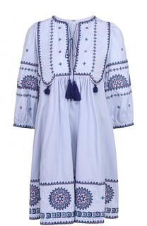 Хлопковое мини-платье с контрастной вышивкой Talitha