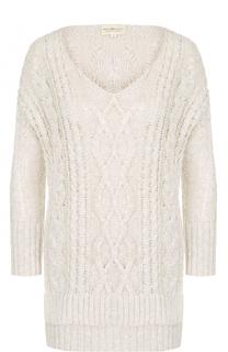 Пуловер фактурной вязки с удлиненной спинкой и V-образным вырезом Denim&Supply by Ralph Lauren