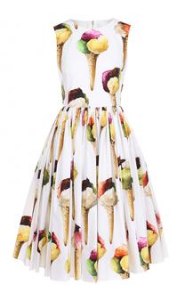 Платье-миди с пышной юбкой и ярким принтом Dolce & Gabbana