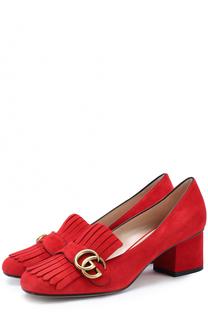Замшевые туфли Marmont с бахромой и пряжкой Gucci
