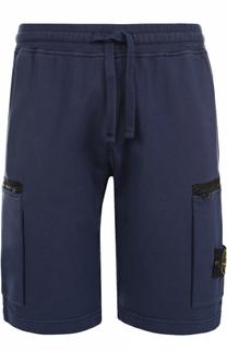 Хлопковые шорты свободного кроя с накладными карманами Stone Island
