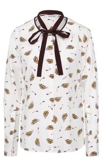 Шелковая блуза с принтом и контрастным воротником аскот Dorothee Schumacher