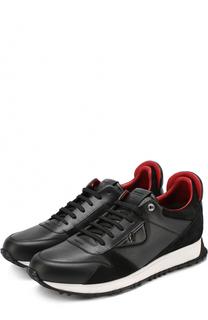 Кожаные кроссовки на шнуровке с отделкой из натурально замши Fendi