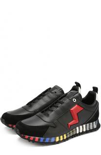 Кожаные кроссовки с контрастной отделкой на подошве с принтом Fendi