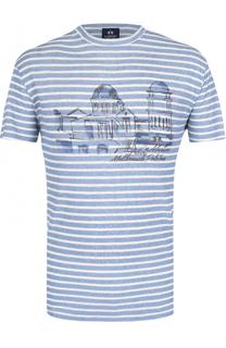 Льняная футболка с принтом La Martina
